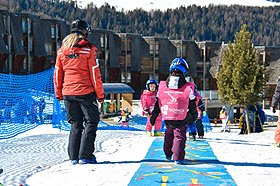 Private piste and playground on the sow